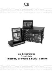 CB Electronics Timecode, Bi-Phase & Serial Control