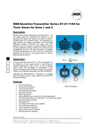 msr sensitron transmitter series xt 21 34xxp ir for gasalarm rh yumpu com