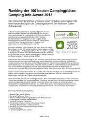 Ranking der 100 besten Campingplätze: Camping.Info Award 2013