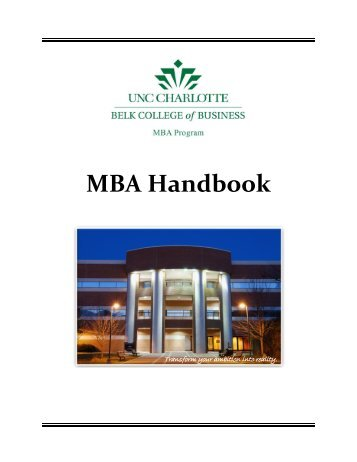 MBA Handbook - Master of Business Administration | UNC Charlotte