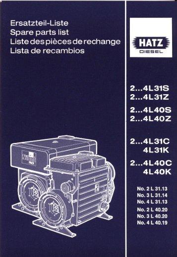 Liste des piéces de rechange ~ - bei HATZ