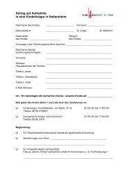 Antrag auf Aufnahme in eine Kinderkrippe in Hattersheim