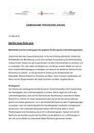 GEMEINSAME PRESSEERKLÄRUNG Nachts ... - Stadt Hattersheim