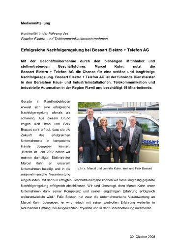 Medienmitteilung Geschäftsübernahme (PDF) - Bossart Elektro und ...