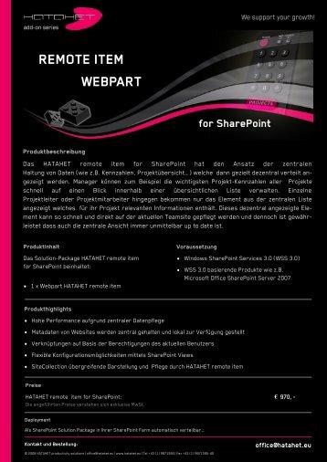 REMOTE ITEM WEBPART - Hatahet
