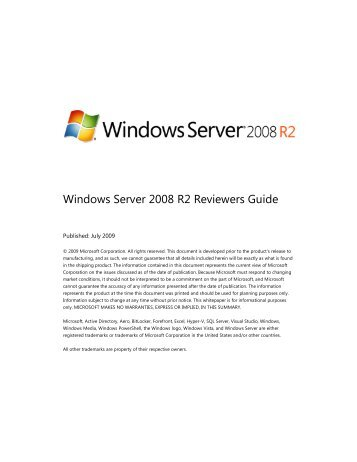 Windows Server 2008 R2 Reviewers Guide  - Klockwork IT-services ...