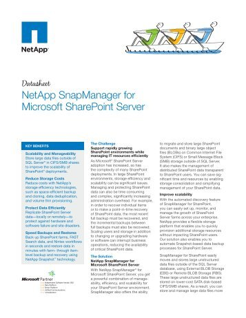 NetApp SnapManager for Microsoft SharePOint - Hatahet