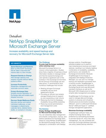 NetApp SnapManager for Microsoft Exchange Server - Hatahet