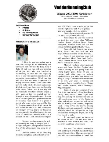 Fall/Winter 2003 - Vedder Running Club