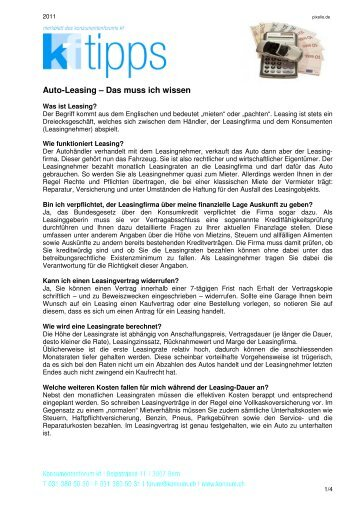 Auto-Leasing – Das muss ich wissen - Konsumentenforum kf