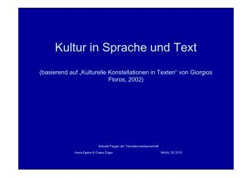 Kultur in Sprache und Text - Translation Concepts