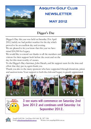 May 2012 - Asquith Golf Club