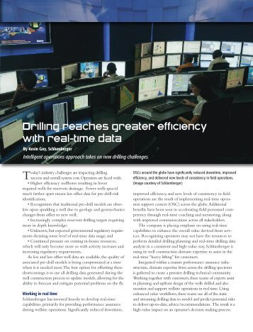 Drilling reaches greater efficiency with real-time data - Schlumberger