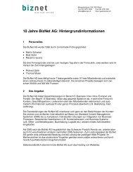 10 Jahre Biznet AG: Hintergrundinformationen