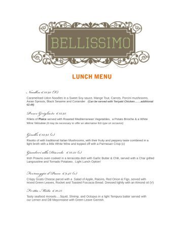 Lunch Menu - Bellissimo