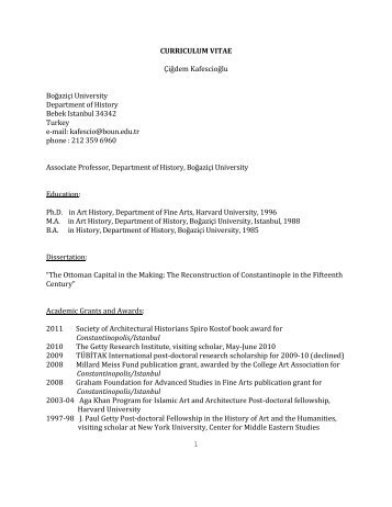 1 CURRICULUM VITAE Çiğdem Kafescioğlu - Department of History