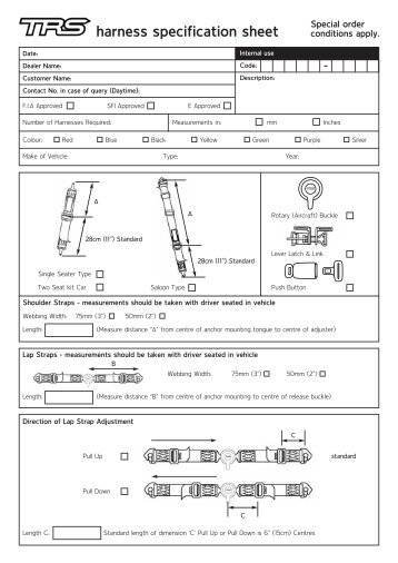 harness specification sheet - Horag