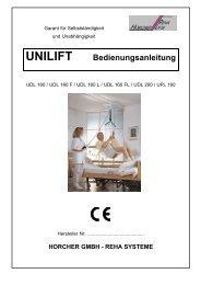 Bedienungsanleitung Deckenliftsysteme UNILIFT Serie