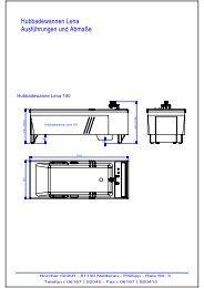 Maßblatt Übersicht Hubbadewannen Serie LENA