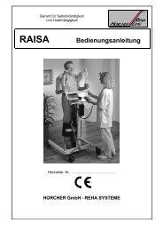 RAISA Bedienungsanleitung - Horcher GmbH - Reha Systeme