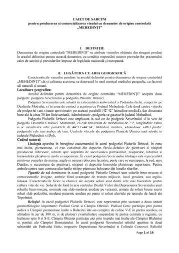 Caiet de sarcini DOC Mehedinţi - onvpv