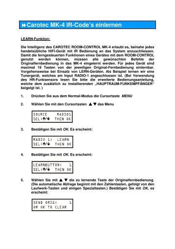 Carotec MK-4 IR-Code's einlernen