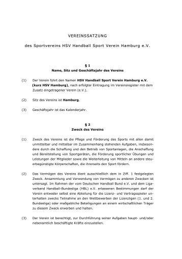 VEREINSSATZUNG des Sportvereins  HSV Handball Sport Verein ...
