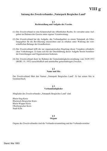 """Satzung des Zweckverbandes """"Naturpark Bergisches Land"""""""