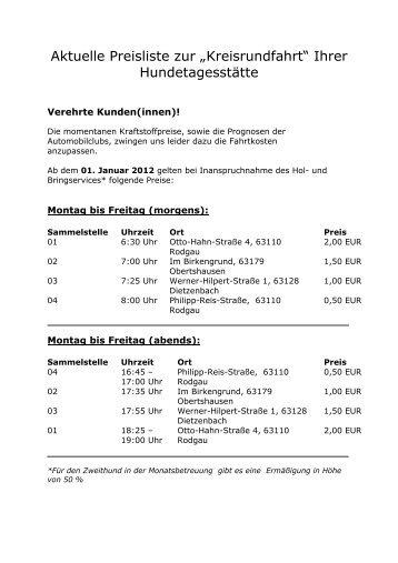 Preisliste Hol- und Bringservice