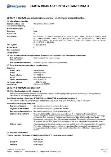 PDD, 2-Stroke Oil HP, 2012-01, 5449752, 5310092 ... - Husqvarna