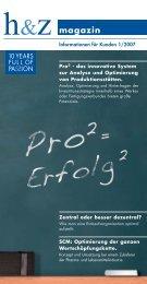 Magazin-Artikel: Pro2 - das innovative System zur Analyse - Huz.de