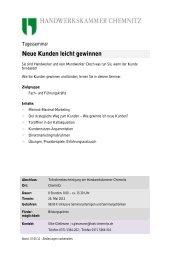 Neue Kunden leicht gewinnen - Handwerkskammer Chemnitz