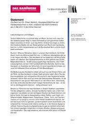 Statement - Handwerkskammer zu Köln