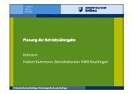 Planung der Betriebsübergabe - Handwerkskammer Reutlingen