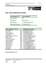 D25: Lake stratification studies - Hydromod