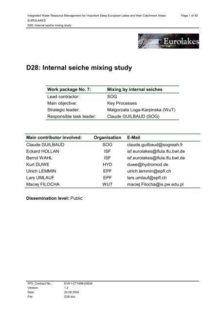 D28: Internal seiche mixing study - Hydromod