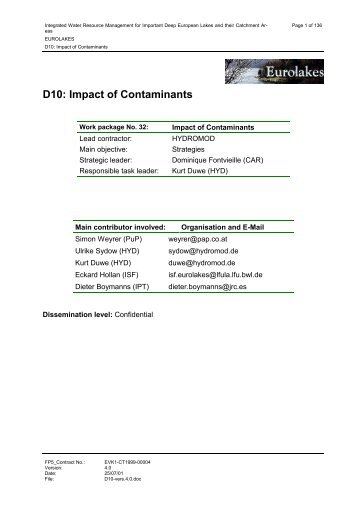 D10: Impact of Contaminants - Hydromod