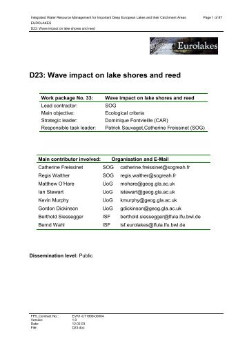 D23: Wave impact on lake shores and reed - Hydromod