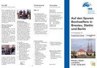 Auf den Spuren Bonhoeffers in Breslau, Stettin und Berlin