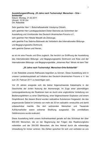 Die Rede von Bürgermeister Dr. Rüdiger Koch. - Internationales ...
