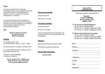 BULLETIN D'INSCRIPTION A renvoyer jusqu'au 5 janvier 2012 ...