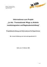 "Informationen zum Projekt ""La ida - Transnationale Wege zu ... - IBI"