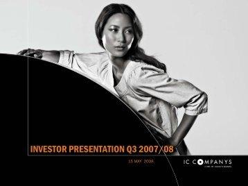 View Presentation - IC Companys A/S