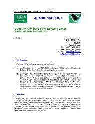 ARABIE SAOUDITE Direction Générale de la Défense Civile - ICDO