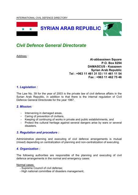 SYRIAN ARAB REPUBLIC Civil Defence General Directorate - ICDO