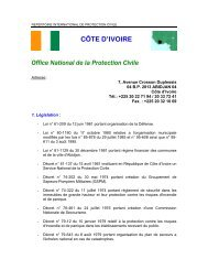 CÔTE D'IVOIRE Office  National de la Protection  Civile - ICDO
