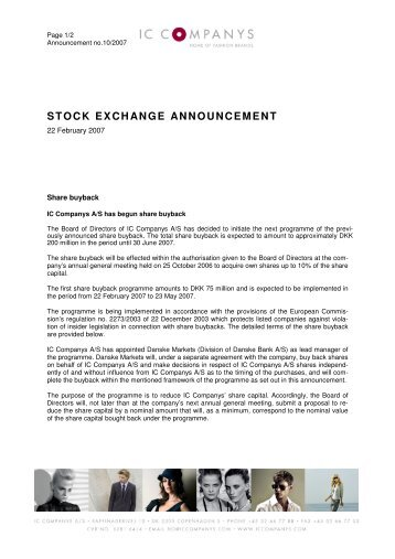 STOCK EXCHANGE ANNOUNCEMENT - IC Companys A/S