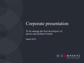 Download company presentation here - IC Companys A/S