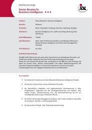 Stellenanzeige Senior Berater/in Business Intelligence - IDL