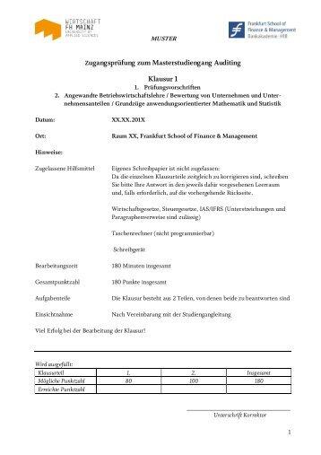 Musterklausur - Frankfurt School of Finance & Management